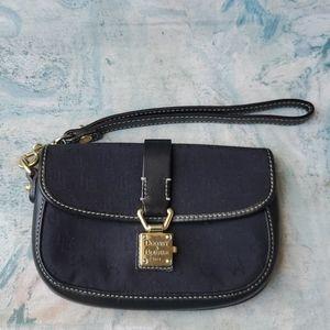 Donney & Bourke Black Canvas Leather Wristlet